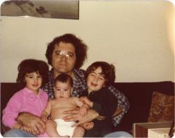 Joe with his three kids, Miriam, David and Daniel (cir. 1980)