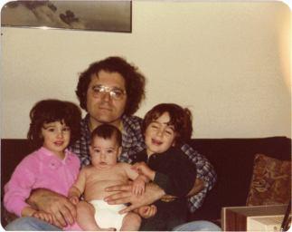 Joe with his three kids, Miriam, David and Daniel (cir. 1980)